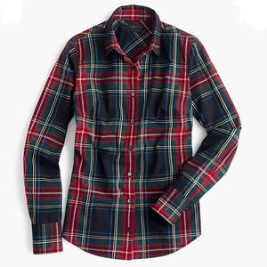 J Crew Perfect Shirt Stewart Plaid Button Up 03411